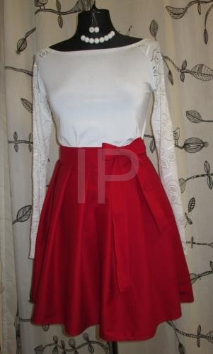Dámská červená sukně zavinovací 5ce86dcbf5